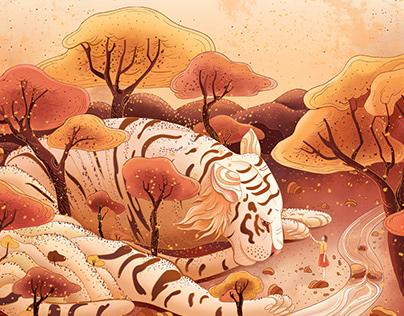 Ukiyoe prints inspired illustrations, wishes