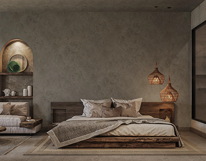 """Bedroom design inspired by the """"Wabi Sabi"""" style"""