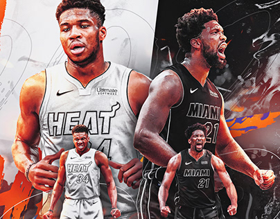 Giannis Antetokounmpo and Joel Embiid x Miami Heat