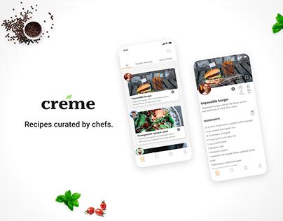 Créme Recipe App