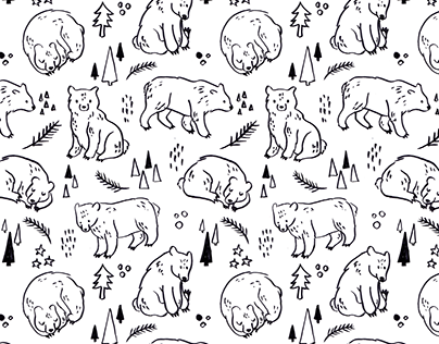 Hand drawn Bear Textile Pattern Design