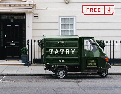 Free Piaggio Truck Mockup