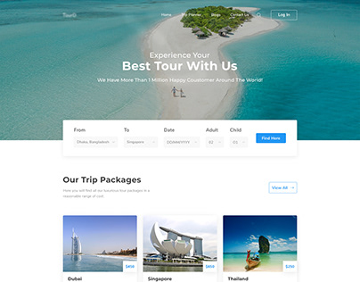 Trip Planner Website Landing Page for Travel Agency