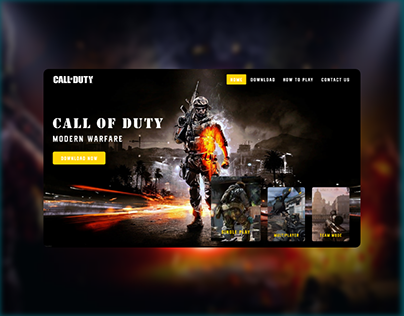 Landing Page Design Concept For Call of Duty