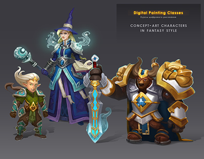 Concept-art characters in fantasy style