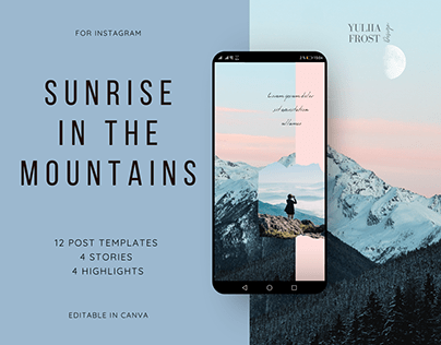 Sunrise in the mountains. Set of Instagram templates