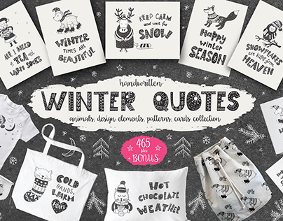 Winter quotes, animals, cards. Handlettering.