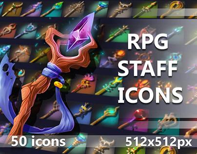 50 RPG Staff Icons