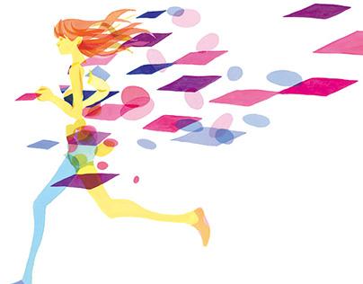 "Illustration for a newspaper ad ""Osaka Woman's Maraton"""