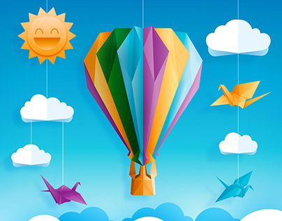 birds and hot air balloon origami