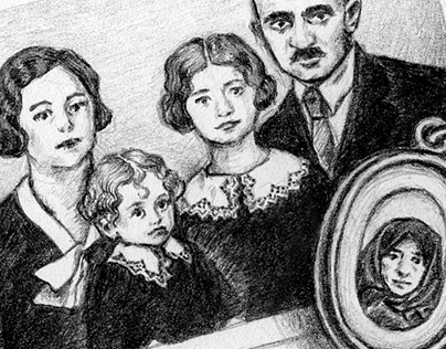 Pencil illustrations for a genealogy book