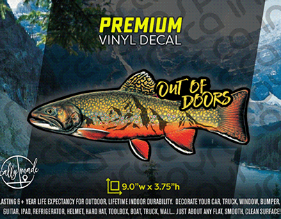 OUT OF DOORS Trout Mountain Angler Outdoor Decal