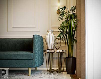 Neoclassic interior design for a reception .