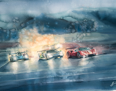 A moment of 24 hours of LE MANS in watercolor