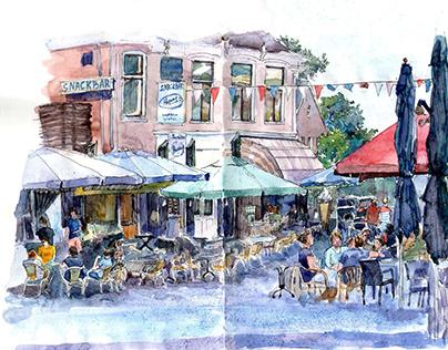 Watercolor sketch in moleskine sketchbook