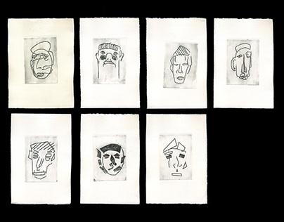 Engraving. Selfportraits