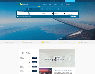 Website for the FLYBOSNIA Airline