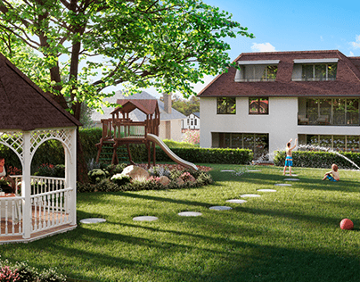 3D exterior visualization of private house- UK