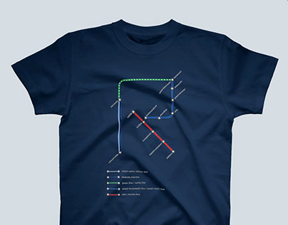 TOKYO RAIL LINE ALPHABET T-shirts