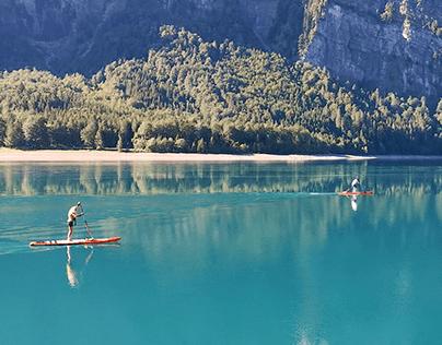 Morning workout on a peaceful mountain lake