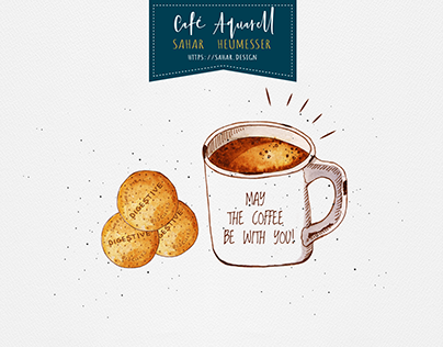 Café Aquarell : watercolor illustration