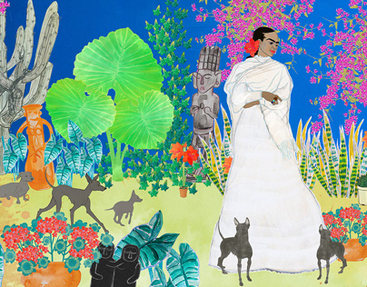 Frida Kahlo in garden