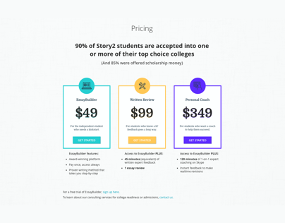 Education Startup Website Redesign: Pricing Page/Table