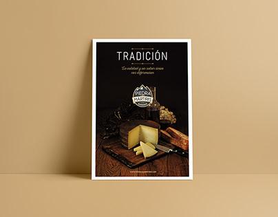 Diseño cartelería y folletos quesería / pastelería.