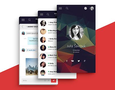 profebook.com social network - Mobile Application UI