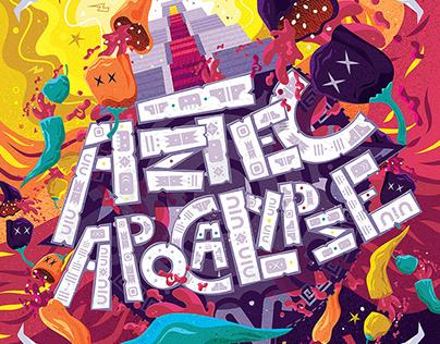 Aztec Apocalypse craft beer label illustration
