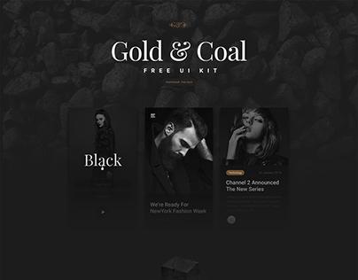 Free UI Kit - Gold & Coal