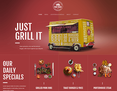 BBQ FOOD TRUCK ONE PAGE WEBSITE