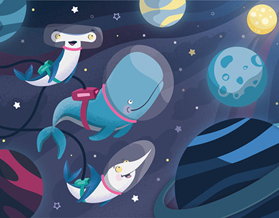Illustration - Whales in space