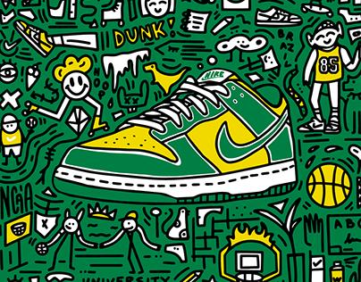 Custom Nike Dunk Low SP Doodle for WUNDER