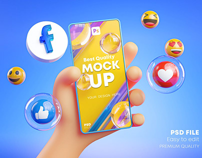 Cute Hand Holding Phone Facebook Icons Around 3D