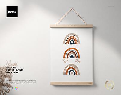 Wooden Poster Hanger Mockup Set