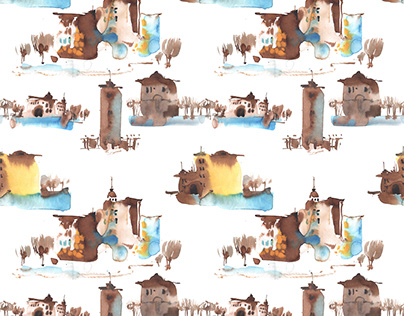 Watercolor patterns/ City