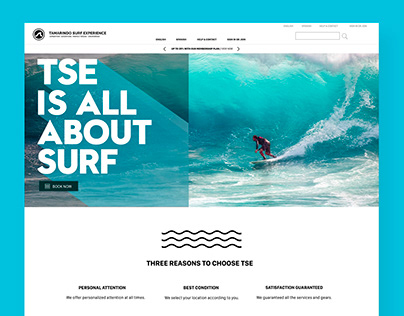 Project: Website interface design for surf camp.