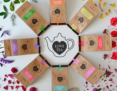Logotipo y packaging para LOVE TEA