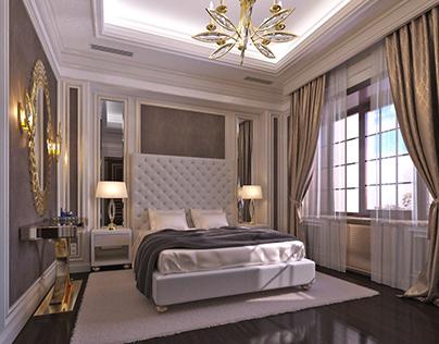 Elegant and Classy Guest Bedroom interior.