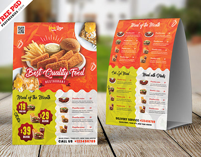 A4 Size Restaurant Table Tent Card PSD