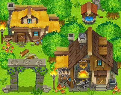 """Untold legacy"" game art - list #1, ""Mountain Village"""