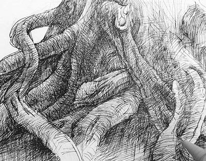 Drawings in sketchbook