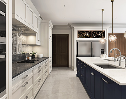 Hand Built Kitchen, Blue Island and Antique Mirror