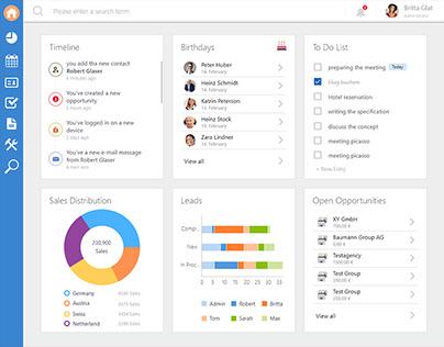 Visual design concept for a dashboard
