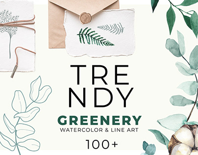TRENDY GREENERY: watercolor & line art