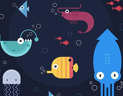 "Minimalistic Illustration ""The Sea World"""