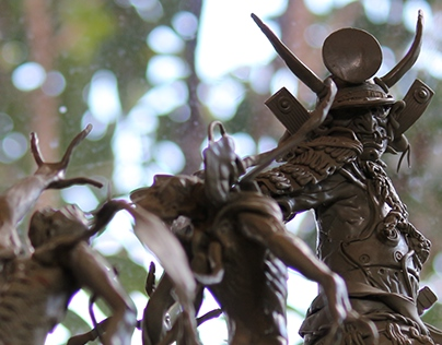 Sculpture Diorama samurai vs creatures.