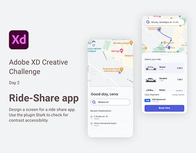 Adobe XD Daily Creative Challenge ride-share app