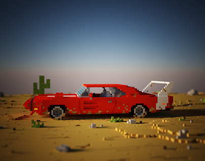 Dodge in Desert | Voxel Art